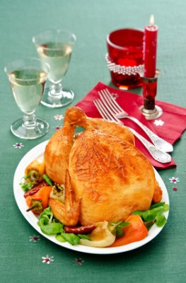 baked chicken with pepper on green tablecloth