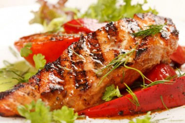 salmon steak with vegetables