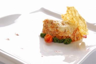 Lasagna de arroz con vegetales. México.