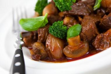 Closeup of beef goulash with mushrooms